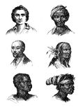 Human races, engraving portraits XIX century Stock Photo