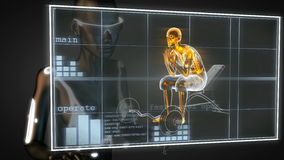 Human radiography scan in gym room on hologram Royalty Free Stock Photography