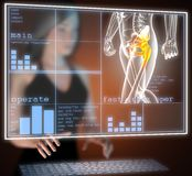 Human radiography scan on hologram Royalty Free Stock Photography