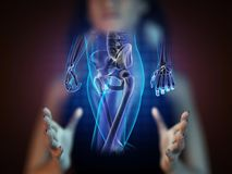Human radiography scan on hologram Stock Photo