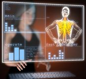 Human radiography scan on hologram Stock Photos
