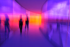 Human Reflections. Blurry photos can be just right! This was taken in Your Rainbow Panorama on top of the Aros Museum in Aarhus, Denmark Royalty Free Stock Image