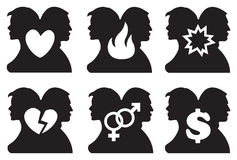 Human Relationship Icon Set. Vector illustration of silhouette of back to back two persons and a symbol in between them. Concept for human relationship Royalty Free Stock Images