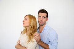Human relationships. Young couple being upset at each other Stock Photography