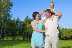 Human Relationships Concepts. Young Caucasian Family of Three Pe Stock Photo