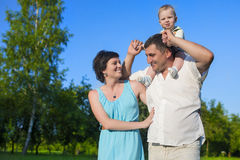 Human Relationships Concepts. Young Caucasian Family of Three Royalty Free Stock Image