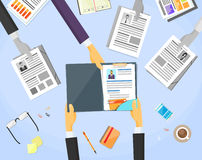 Human Resouce Working Place Desk Documents. Curriculum Vitae Recruitment Candidate Job Position, CV Profile Business People to Hire Vector Illustration Royalty Free Stock Image