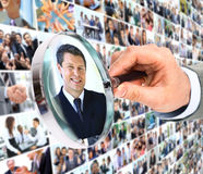 Human resource concept,. Magnifying glass searching people Royalty Free Stock Photo