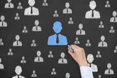 Human Resource Conceptual Drawing on Blackboard Texture Royalty Free Stock Photography