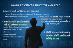 Human resource function and roles. Businessman writing human resource function and roles Royalty Free Stock Photography