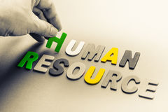 Human Resource. Hand arrange small wood letters as Human Resource topic Royalty Free Stock Images