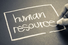 Human resource. Hand writing Human Resource word with chalk Stock Images