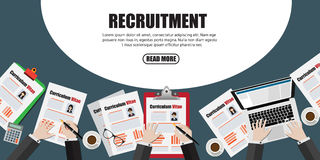 Human resource or HR management info graphic element and background. recruitment process Stock Photography
