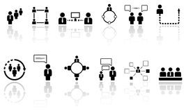 Human resource icons with reflection Royalty Free Stock Photos