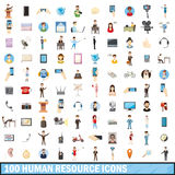100 human resource icons set, cartoon style Royalty Free Stock Image