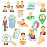 Human resource icons set, cartoon style Stock Photo