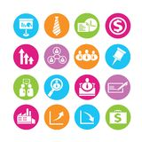 Human resource icons. Set of 16 human resource icons in colorful buttons Stock Images