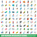 100 human resource icons set, isometric 3d style Stock Photography