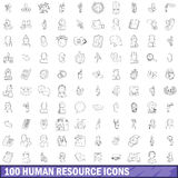 100 human resource icons set, outline style Stock Photography