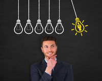 Human Resource Idea Light Bulb Concept Drawing Work on Blackboard Stock Image