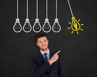 Human Resource Idea Light Bulb Drawing on Blackboard Royalty Free Stock Photography