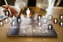Human resource management, HR, recruitment, leadership and teambuilding. Business and technology concept Stock Images