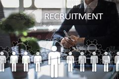 Human resource management, HR, recruitment, leadership and teambuilding. Business and technology concept. Human resource management, HR, recruitment, leadership Royalty Free Stock Photos