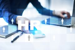 Human resource management, HR, recruitment, leadership and teambuilding. Business and technology concept. Human resource management, HR, recruitment, leadership royalty free stock photo