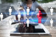 Human resource management, HR, recruitment, leadership and teambuilding. Business and technology concept. stock images