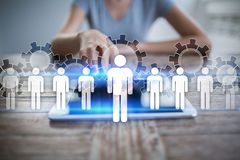 Human resource management, HR, recruitment, leadership and teambuilding. Business and technology concept royalty free stock photo