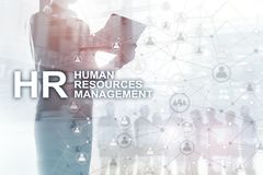 Human resource management, HR, Team Building and recruitment concept on blurred background. Human resource management, HR, Team Building and recruitment concept stock photo