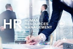 Human resource management, HR, Team Building and recruitment concept on blurred background stock photos