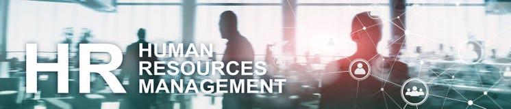 Human resource management, HR, Team Building and recruitment concept on blurred background. Website header banner.  stock illustration