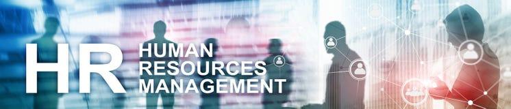 Human resource management, HR, Team Building and recruitment concept on blurred background. Website header banner.  royalty free illustration