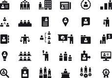 Human resource management icon set. Set of black and white glyph flat icons relating to business and human resource management Royalty Free Stock Images