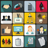 Human resource management icons set. In flat style for any design Royalty Free Stock Photos