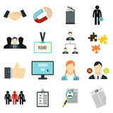 Human resource management icons set, flat style. Flat human resource icons set. Universal human resource icons to use for web and mobile UI, set of basic human Stock Images