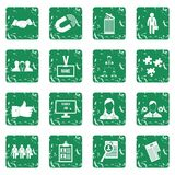 Human resource management icons set grunge. Human resource management icons set in grunge style green isolated vector illustration Stock Photo