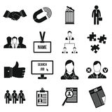 Human resource management icons set. In simple style for any design Stock Image
