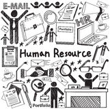 Human resource management in organization handwriting doodle icon. Sketch sign and symbol in white isolated background paper used for business education Stock Image