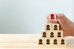 Human resource management and recruitment business concept. Block shape on wood table stock photography