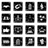 Human resource management set icons, grunge style. Human resource management set icons in grunge style isolated on white background. Vector illustration Royalty Free Stock Photo