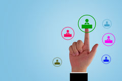 Human Resource Management. Teamwork concept, business recruitment, group of people icon and hand Stock Image