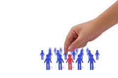 Human Resource Management. Teamwork concept, business recruitment, leadership paper person in the group Stock Image