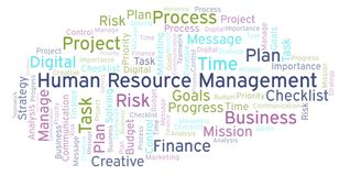 Human Resource Management word cloud, made with text only. Human Resource Management word cloud, made with text only stock illustration
