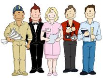 Human Resources. A group of people representing a variety of professions; engineer, musician, nurse, reporter and student. This group illustrates a valuable Royalty Free Illustration