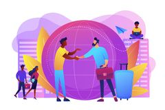 Expat work concept vector illustration. Human resources agency for migrants. Help hub. Expat work, effective migrant workers, expatriate programme, outside vector illustration