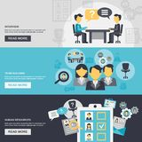 Human Resources Banner. Human resources horizontal banner set with interview team building elements isolated vector illustration Royalty Free Stock Photos