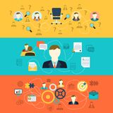 Human resources banners. Human resources personnel selection interviewing recruiting training and integrating applicants horizontal banners set abstract flat Royalty Free Stock Photo