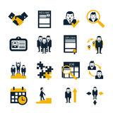 Human resources black icons set Royalty Free Stock Image